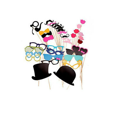44 Full Set Party Selfie Photo Props Booth Moustache Wedding Decoration DIY UK