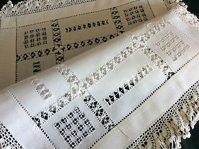 Beautiful Antique Linen Tray Cloth ~ Lovely Lace/drawnthread Work