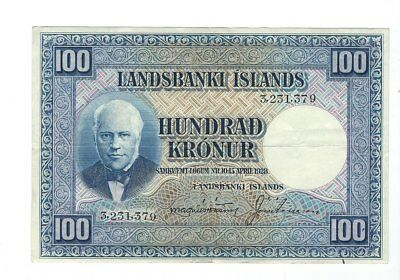 Iceland - 1928, One Hundred (100) Kronur