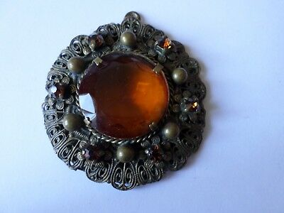 Large vintage early 20th century Czech glass necklace pendant
