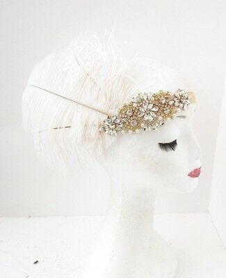 Gold Ivory White Feather Headpiece 1920s 30s Headband Flapper Great Gatsby 5820