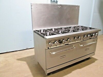 """""""PATRIOT"""" HD COMMERCIAL (NSF) NAT GAS 10 BURNERS STOVE w/2 OVENS/CASTERS/SS BACK"""