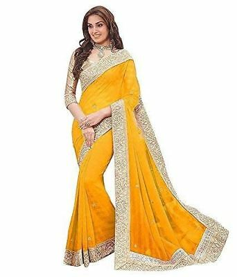 Women's Georgette Saree With Blouse Piece Yellow