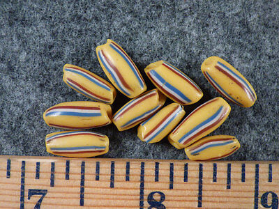 (10) Original French Flag Stripes Glass Huron Indian Trade Beads Fur Trade 1700s