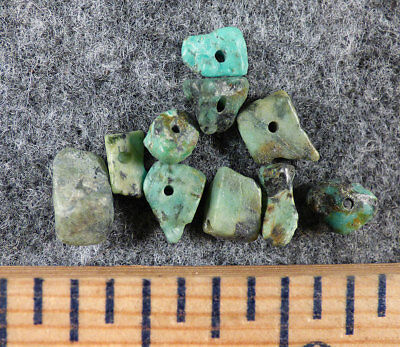 (10) Original Navajo Indian Turquoise Trade Beads Fur Trade 1800's