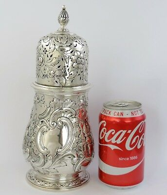 MAMMOTH 24cm silver SUGAR CASTER London 1887 SIFTER SHAKER 572g Georgian Wakelin