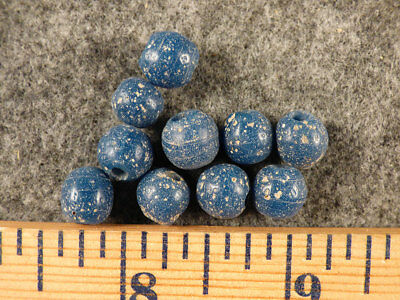 (10) Huron Indian Blue Glass Old Style Trade Beads w/Patina Fur Trade 1800's