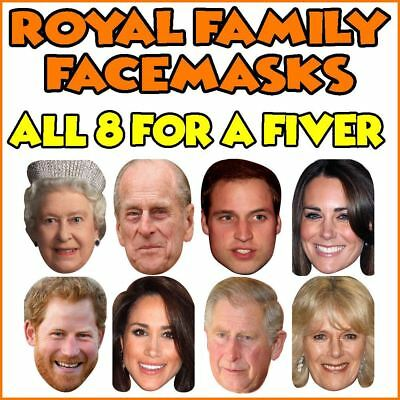 ALL 8 Royal Family Celebrity Face masks Wedding Jubilee Party Supplies Face Mask