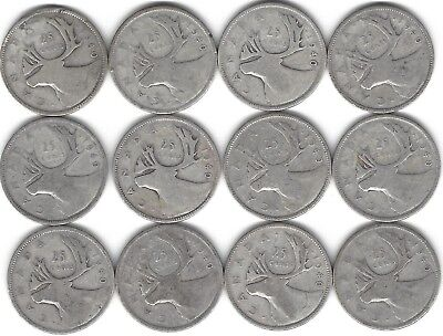 1940 Canada Silver Quarter Dollar 25 cent collection twelve (12) coins