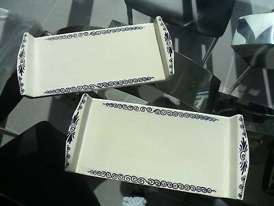 2 x Rectangle China Serving Plates Unusual Design, ideal for Hor d'oeuvres