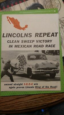 vintage 1954 Ford Motor Company Lincoln road race