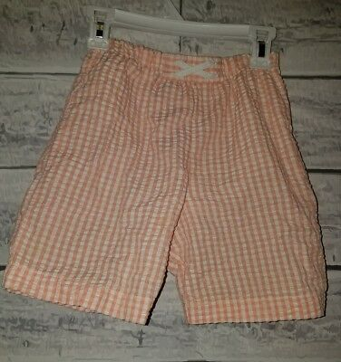 The Bailey Boys Swim Suit Bathing Suit trunks Size 7 seesucker orange and white