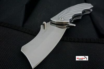 "8"" Silver Folding Spring Assisted Open Cleaver Tactical Pocket Knife Razor Skull"