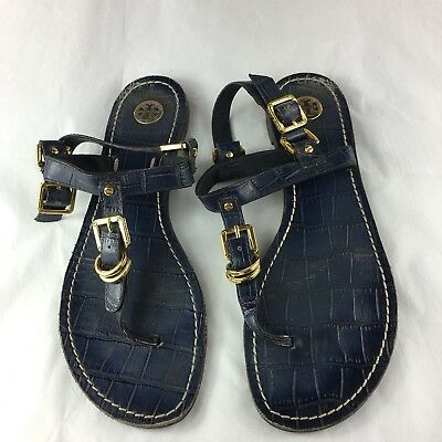3692bc09a TORY BURCH flat sandals shoes flats navy gold thong T-strap US 7.5 UK 5.5