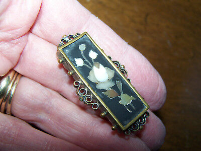 Vintage Antique Pietre Dura Inlay Victorian Bar Pin - C Clasp - Old! - Z17