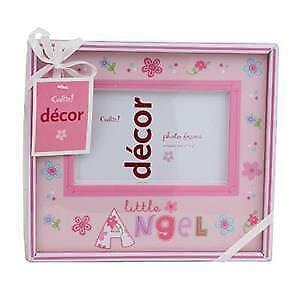 "Baby Photo Frame : Cudlie Decor Pink LITTLE ANGEL 3 x 5"" Girl Baby Picture Frame"