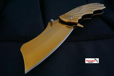 "8"" Gold Folding Spring Assisted Open Cleaver Tactical Pocket Knife Razor Skull"