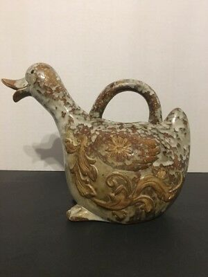 Beautiful Duck Pitcher Made Of Earthenware, Bisque, Decorative Purpose