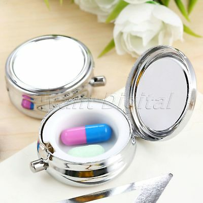 Metal Silver 1 Slot Pill Box Refillable Portable Round Container Storage 1/3Pcs