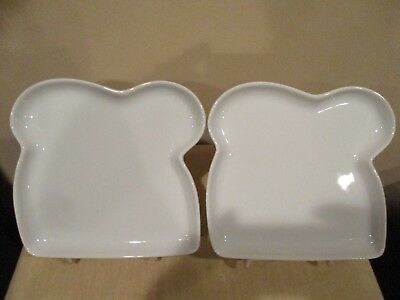 Crate and Barrel White Bread Shaped Sandwich Plates (2 pcs)