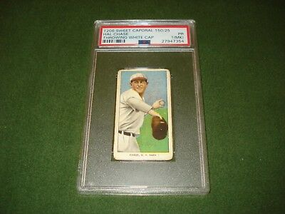 1909 T-206 Baseball Card -Hal Chase, White Cap, Throwing, Sweet Corporal, Psa 1
