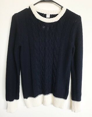 New J Crew Crewcuts Boys Crewneck Sweater Cable Knit Navy Size 14 Retail $69