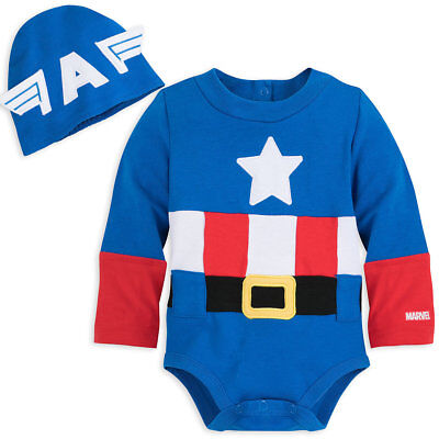 Disney Authentic Captain America Baby Costume & Hat 0 3 6 9 12 18 24 Months