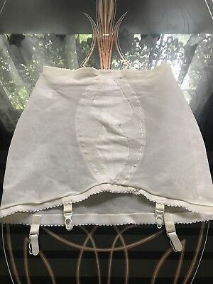 1980's Vintage White Power Net Open Bottom Girdle With Garters~2XL