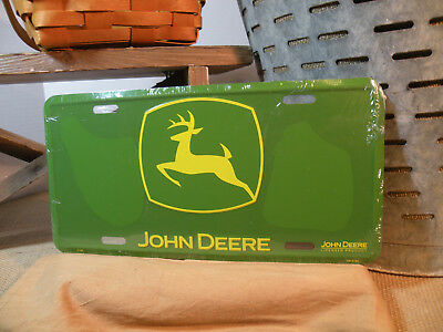 John Deere 3-Legged Deer License Plate, Green with Yellow Logo, Barn Man Cave