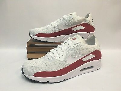 c8ad871a34 Nike Air Max 90 Ultra 2.0 Flyknit Shoes White Gym Red Black 875943-102 Men's