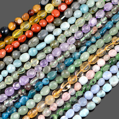 "4-8mm Natural Gemstone Freeform Potato Pebble Chips Loose Beads 15.5"" Larimar"