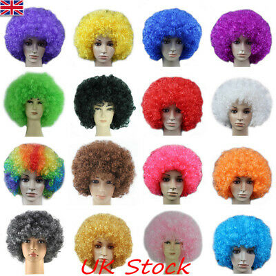 UK Mens Womens Fancy Dress Afro Wigs Unisex Funky Disco Clown Style Cosplay Wigs