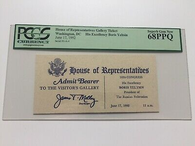 1992 Boris Yeltsin of the Russian Federation Address to Congress Ticket PCGS