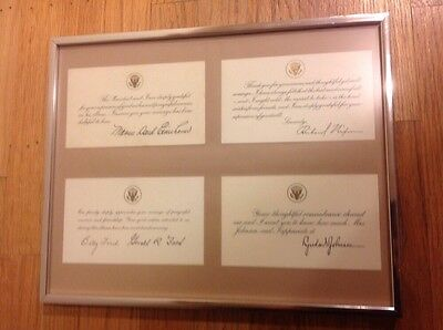 Framed President Get-Well Message Cards Dwight Eisenhower Johnson Nixon Ford
