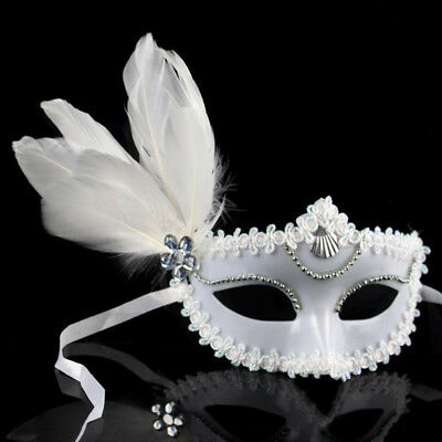 Carnival Feather Plastic Mask with Glitter Women Masquerade Prom Costume Party
