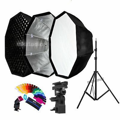 80cm Umbrella Octagon Softbox with Grid stand For Studio Strobe Flash Lighting