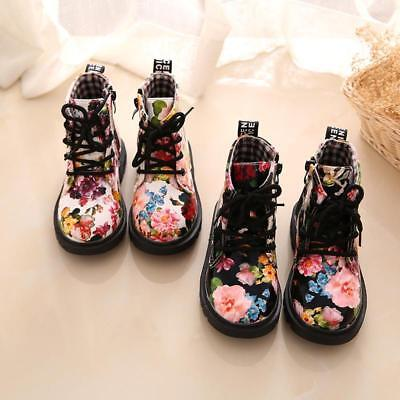 Fashion Kids Boys Girls Floral Ankle Boots Skidproof Lace Up Martin Shoes B