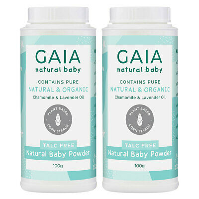 Gaia 2x100g Natural/Pure/Organic Baby Powder Vegan Friendly/Talc Free Cornstarch