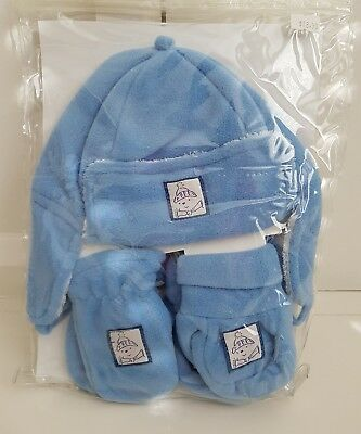 NEW Baby boys Beanie & Mittens Set Gloves Winter Hat Navy 6-12 Months 1 BLUE