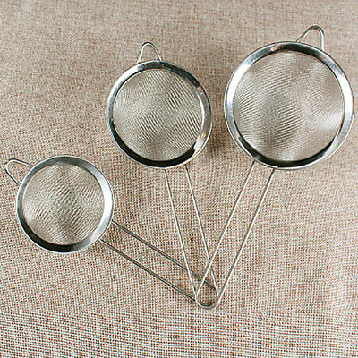 1x Kitchen Stainless Steel Wire Mesh Oil Strainer Flour Colander Sifter Sieve UK