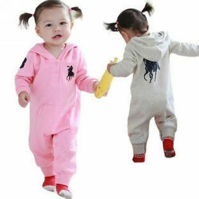 Baby Boys Girls Long Sleeves Cotton Hood Romper Jumpsuit One Piece Size 00,0,1,2