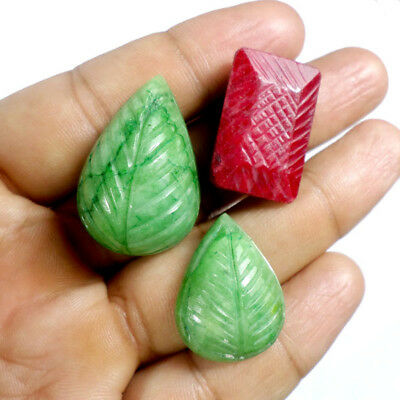 152.10 Cts Natural Top Green Emerald & Red Ruby Hand Carved Huge Gemstones lot