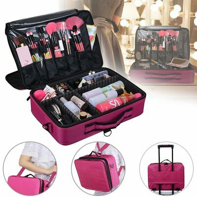Large Makeup Bag Vanity Case Beauty Cosmetic Storage Organizer Box Portable Pink