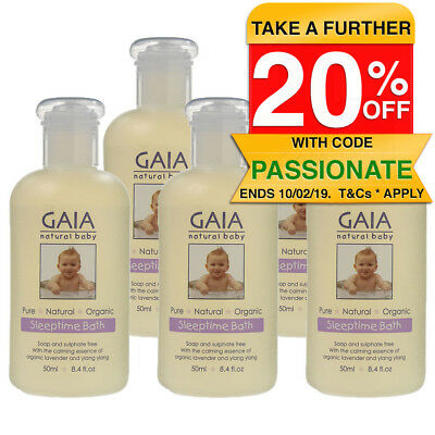 Gaia 5x50ml Pure/Organic Sleeptime Bath for Baby/Kids/Toddlers Vegan Friendly