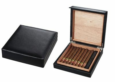 Genuine Leather Cedar Travel Cigar Humidor Case Waterproof Hold 10-15 Count