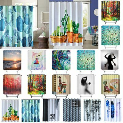 Assorted Pattern Bathroom Shower Curtain Waterproof Panel Fabric With 12 Hooks