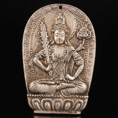 Tibetan Silver Pendant Hand-Carved Indian God Worship Mascot Old Collection