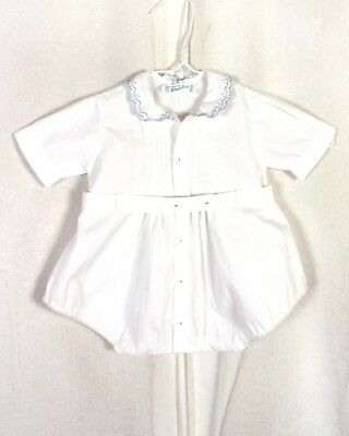 vtg 50s 60s Feltman Bros Belted Lace Hand Embroidered Baby Boys Romper 12 Mos