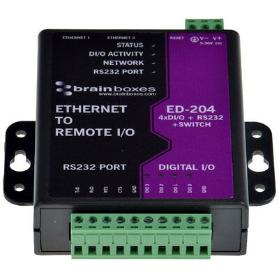 Brainboxes Ethernet to 4 Digital IO and RS232 Serial Port with Ethernet Switch
