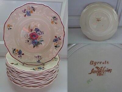 12 Assiettes Creuses Decor Agreste Sarreguemines